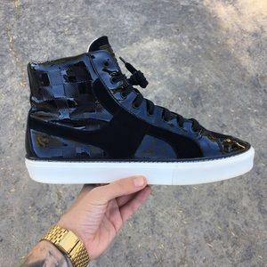 Louis Vuitton Damier Patent Leather/Suede Sneaker